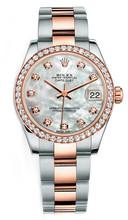 Rolex New Style Datejust Midsize Two Tone Custom Diamond Bezel & Diamond Dial on Oyster Bracelet P178271MOPDDO