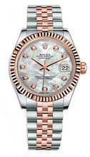 Rolex New Style Datejust Midsize Two Tone Custom Diamond Bezel & Diamond Dial on Jubilee Bracelet P178271MOPDFJ
