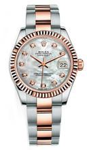 Rolex New Style Datejust Midsize Two Tone Custom Diamond Bezel & Diamond Dial on Oyster Bracelet P178271MOPDFO