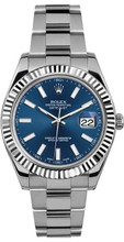 Rolex 41mm Datejust II Stainless Steel 116334 Blue Index
