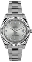 Rolex 41mm Datejust II Stainless Steel 116334 Custom Silver Diamond