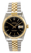 Rolex Men's Datejust Two Tone Fluted Black Index Dial