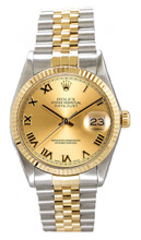 Rolex Men's Datejust Two Tone Fluted Champagne Roman Dial