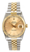 Rolex Men's Datejust Two Tone Fluted Champagne Index Dial