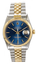 Rolex Men's Datejust Two Tone Fluted Blue Index Dial