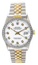 Rolex Men's Datejust Two Tone Custom Diamond Bezel & White Diamond Dial