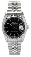 Rolex Men's Datejust Stainless Steel  Black Index Dial