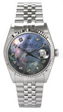 Rolex Men's Datejust Stainless Steel  Custom Dark Mother of Pearl Diamond Dial