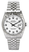 Rolex Men's Datejust Stainless Steel  Custom White Diamond Dial
