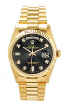 Rolex Men's Day Date President Yellow Gold Fluted Custom Black Diamond Dial