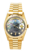 Rolex Men's Day Date President Yellow Gold Fluted Custom Dark Mother of Pearl Diamond Dial