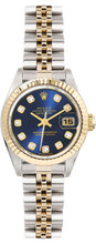 Rolex Women's Datejust Two Tone Fluted Custom Blue Diamond Dial