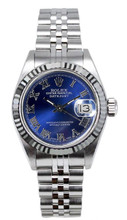 Rolex Women's Datejust Stainless Steel  Blue Roman Dial