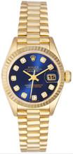 Rolex Women's President Yellow Gold Fluted Custom Blue Diamond Dial