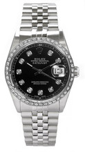 Rolex Men's Datejust Stainless Steel Custom Diamond Bezel & Black Diamond Dial