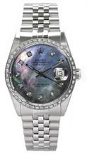 Rolex Men's Datejust Stainless Steel Custom Diamond Bezel & Dark Mother of Pearl Diamond Dial