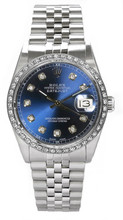 Rolex Men's Datejust Stainless Steel Custom Diamond Bezel & Blue Diamond Dial