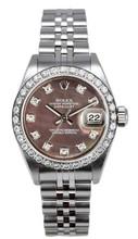 Rolex Women's Datejust Stainless Steel Custom Diamond Bezel & Dark Mother of Pearl Diamond Dial