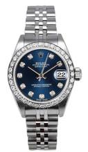 Rolex Women's Datejust Stainless Steel Custom Diamond Bezel & Blue Diamond Dial