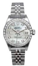 Rolex Women's Datejust Stainless Steel Custom Diamond Bezel & Pearl Diamond Dial
