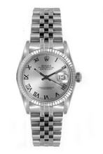 Rolex Women's Datejust Midsize Stainless Steel  Silver Roman Dial
