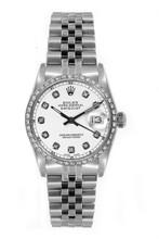 Rolex Women's Datejust Midsize Stainless Steel Custom Diamond Bezel White Diamond Dial