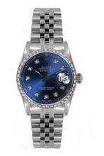 Rolex Women's Datejust Midsize Stainless Steel Custom Diamond Bezel Blue Diamond Dial