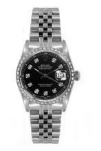 Rolex Women's Datejust Midsize Stainless Steel Custom Diamond Bezel Black Diamond Dial