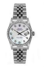 Rolex Women's Datejust Midsize Stainless Steel Custom Diamond Bezel Mother of Pearl Diamond Dial