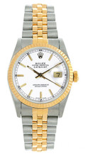 Rolex Women's Datejust Midsize Two Tone Fluted White Index Dial