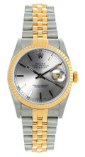 Rolex Women's Datejust Midsize Two Tone Fluted Silver Index Dial