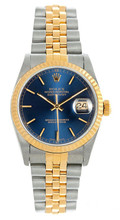 Rolex Women's Datejust Midsize Two Tone Fluted Blue Index Dial