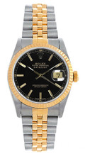 Rolex Women's Datejust Midsize Two Tone Fluted Black Index Dial