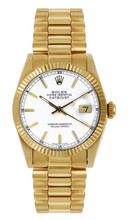 Rolex Women's President Midsize Fluted White Index Dial