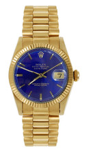 Rolex Women's President Midsize Fluted Blue Index Dial