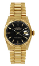 Rolex Women's President Midsize Fluted Black Index Dial