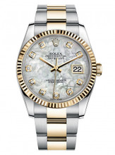 Rolex New Style Datejust Two Tone Fluted Bezel  & Custom Mother of Pearl Diamond Dial on Oyster Bracelet