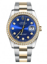 Rolex New Style Datejust Two Tone Custom Diamond Bezel & Blue Diamond Dial on Oyster Bracelet