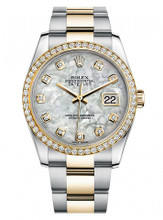 Rolex New Style Datejust Two Tone Custom Diamond Bezel & Mother of Pearl Diamond Dial on Oyster Bracelet