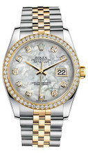 Rolex New Style Datejust Two Tone Custom Diamond Bezel & Mother of Pearl Diamond Dial on Jubilee Bracelet