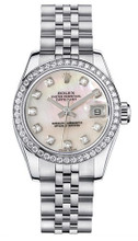 Rolex Women's New Style Steel Datejust with Custom Diamond Bezel and Mother of Pearl Diamond Dial
