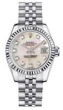 Rolex Women's New Style Steel Datejust with Custom Mother of Pearl Diamond Dial