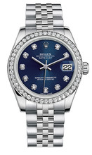 Rolex New Style Datejust Midsize Stainless Steel Custom Diamond Bezel & Diamond Dial on Jubilee Bracelet P178240LDDJ