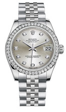 Rolex New Style Datejust Midsize Stainless Steel Custom Diamond Bezel & Diamond Dial on Jubilee Bracelet P178240SDDJ
