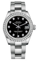 Rolex New Style Datejust Midsize Stainless Steel Custom Diamond Bezel & Diamond Dial on Oyster Bracelet P178240BDDO