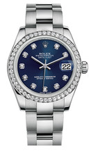 Rolex New Style Datejust Midsize Stainless Steel Custom Diamond Bezel & Diamond Dial on Oyster Bracelet P178240LDDO