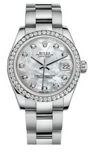 Rolex New Style Datejust Midsize Stainless Steel Custom Diamond Bezel & Diamond Dial on Oyster Bracelet P178240MOPDDO
