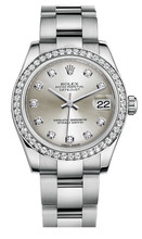 Rolex New Style Datejust Midsize Stainless Steel Custom Diamond Bezel & Diamond Dial on Oyster Bracelet P178240SDDO