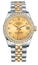 Rolex New Style Datejust Midsize Two Tone Custom Diamond Bezel & Diamond Dial on Jubilee Bracelet P178273CDDJ
