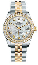 Rolex New Style Datejust Midsize Two Tone Custom Diamond Bezel & Diamond Dial on Jubilee Bracelet P178273MOPDDJ